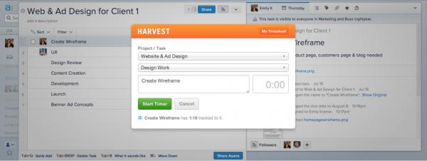 Asana integrerar Harvest för att möjliggöra spårning av tid som spenderas på varje uppgift