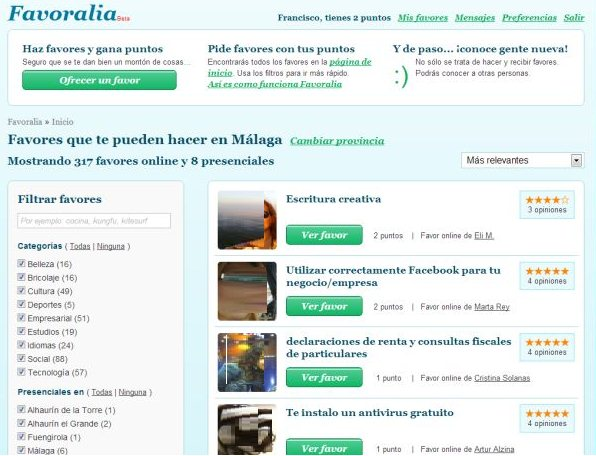 Favoralia - the social network for exchanging favors between users