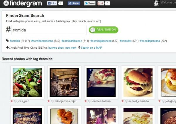 Findergram, Instagram foto sökmotor med realtid och karta