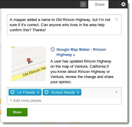 Google Map Maker allows us to share on Google+