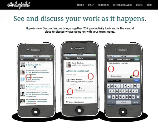 Hojoki Discuss, the new social functionality that allows discussion about updates