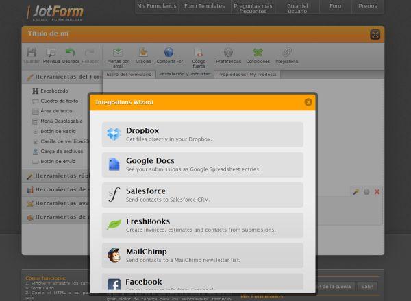 JotForm tar vitamin med integrationen av andra webbtjänster
