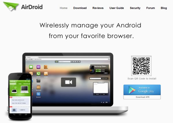AirDroid allows you to manage your Android terminal from your desktop system