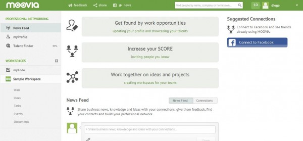 Moovia, between social network and project management system