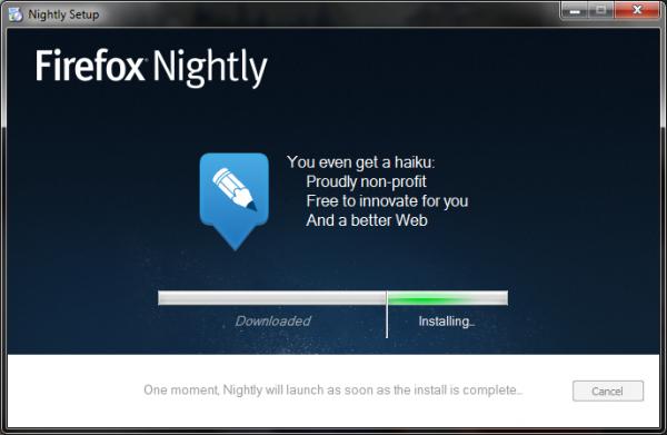 Mozilla innehåller ett nytt, smidigare installationsprogram som ett test i utvecklingsversionen av Firefox