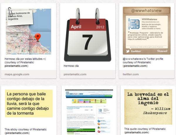 Pinstamatic, publicera 6 olika innehåll på Pinterest