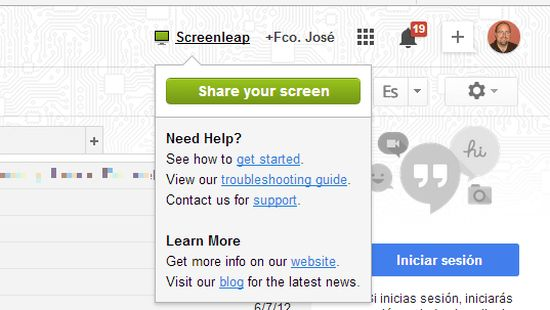 Screenleap för GMail