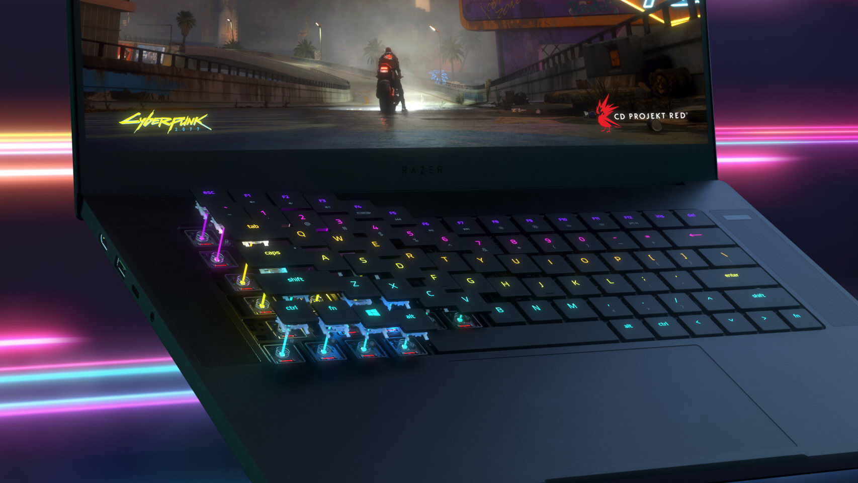 The keyboard of the new Razer laptop works with light. Yes light