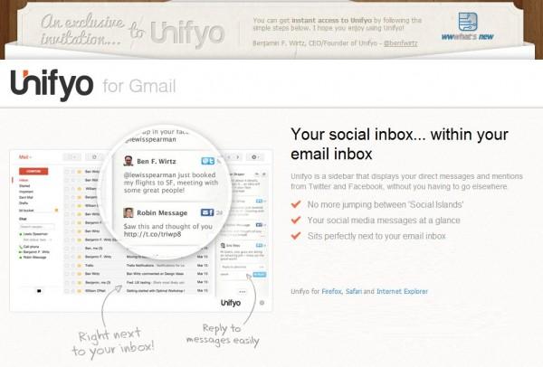 Unifyo integrerar dina sociala nätverk i din Gmail, hotmail eller yahoo [invitaciones]