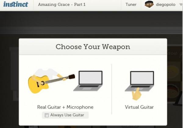 Vi försökte getinstinct, för att lära oss spela gitarr online